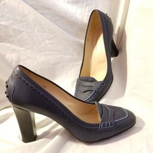 Tod's navy blue pumps penny loafer 38/8 US Italy